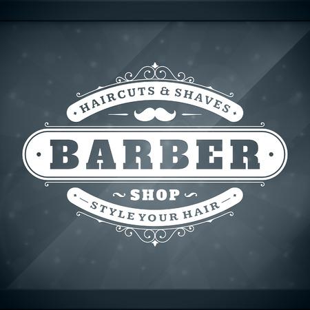 finestra: Barbiere modello di design tipografico vintage retrò