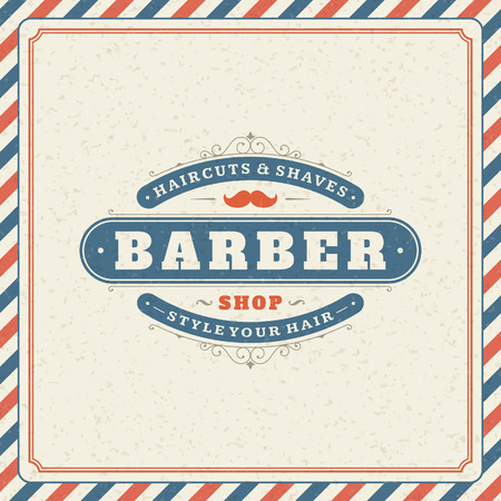 Barber shop vintage retro typographic design template Vector