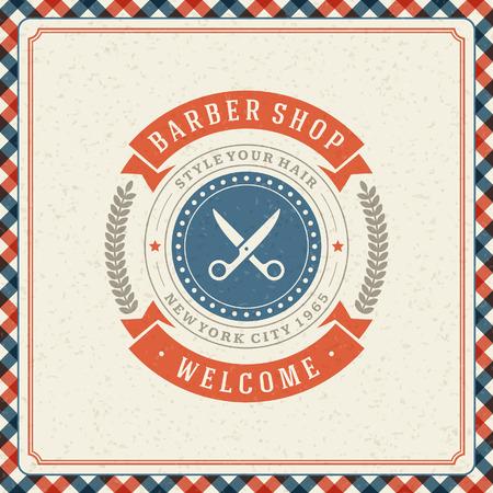 at scissors: Barber shop vintage retro typographic design template