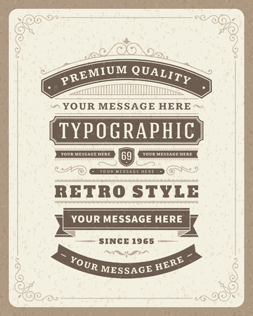 Retro typographic design elements  Template for design invitations, posters and other design Reklamní fotografie - 26273433