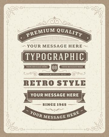 vintage: Tasarım davetiyeler, posterler ve diğer tasarım Retro tipografik tasarım öğeleri Şablon