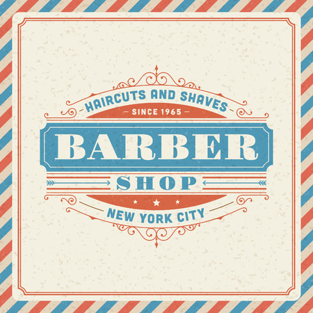 Barber shop vintage retro typography template  Vector