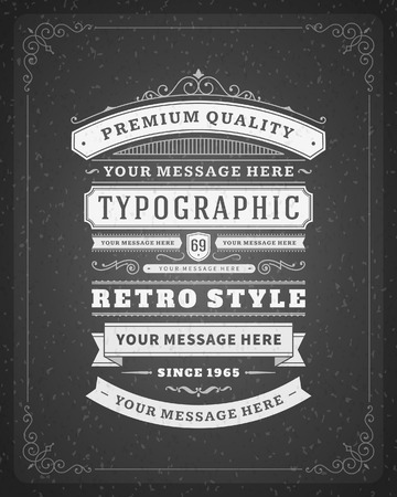 Retro typographic design elements  Template for design invitations, posters and other design   Vector