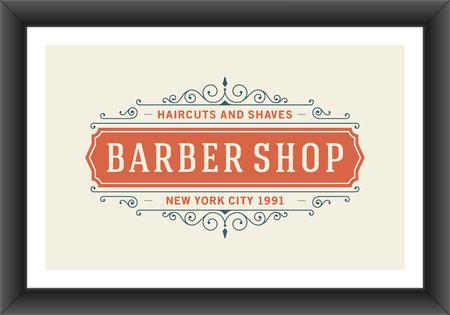 Barber shop vintage retro typographic design template Vector