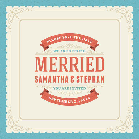 Plantilla de tarjeta de invitación de la boda fondo de la vendimia tipográfico Retro Foto de archivo - 26273449