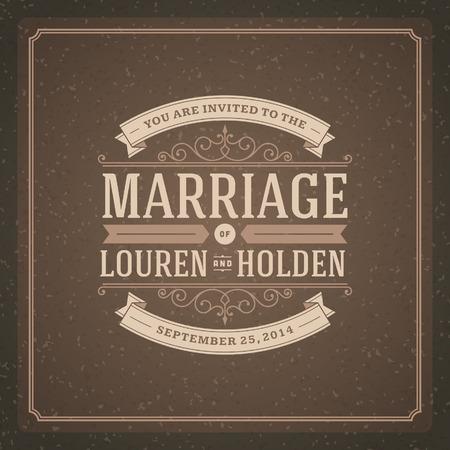 pareja comiendo: Plantilla de tarjeta de invitación de la boda fondo de la vendimia tipográfico Retro Vectores