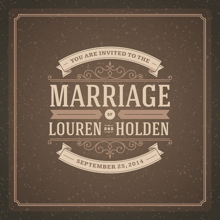 Wedding invitation card template vintage background  Retro typographic Vector