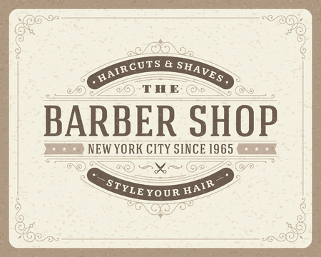 peluquerias: Barber�a plantilla de dise�o tipogr�fico retro de la vendimia Vectores