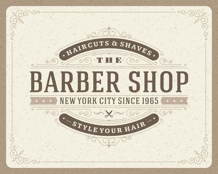 barbero: Barber�a plantilla de dise�o tipogr�fico retro de la vendimia Vectores