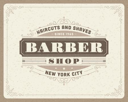 antikes papier: Barber Shop Vintage retro typografische Design-Vorlage