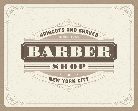 antique scissors: Barbiere vintage template design tipografico retr� Vettoriali