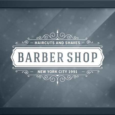 barber shave: Barber shop vintage retro typographic design template