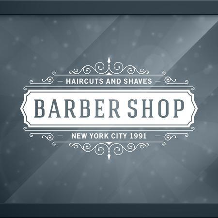vintage: Berber dükkanı eski, retro tipografik tasarım şablonu