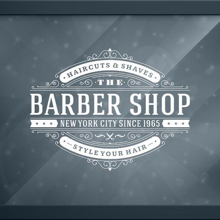 peluquero: Barber�a plantilla de dise�o tipogr�fico retro de la vendimia Vectores