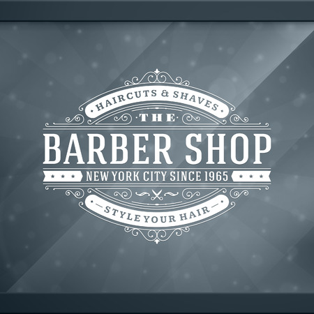 barber scissors: Barber shop vintage retro typographic design template