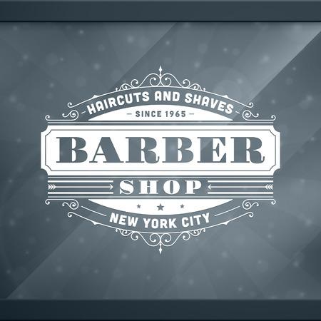 tijeras: Barbería plantilla de diseño tipográfico retro de la vendimia Vectores