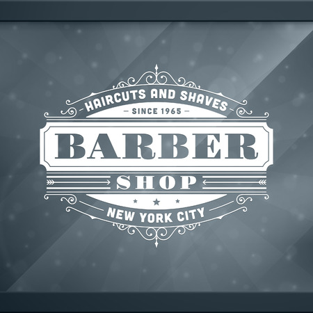 negozio: Barbiere vintage template design tipografico retrò Vettoriali