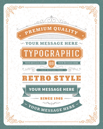 marriage certificate: Retro typographic design elements  Template for design invitations, posters and other design