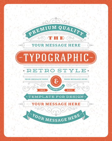 Retro typographic design elements  Template for design invitations, posters and other design