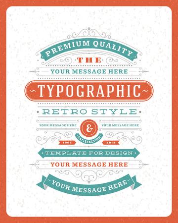 Tasarım davetiyeler, posterler ve diğer tasarım için Retro tipografik tasarım elemanları Şablon Çizim