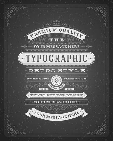 vintage: Retro typografisch ontwerp elementen Template voor ontwerp uitnodigingen, affiches en andere design