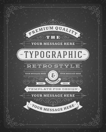 vintage: Retro typographic design elements  Template for design invitations, posters and other design