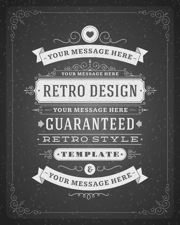 Vintage design template  Card and place for text  Retro flourish and calligraphic typographic design elements