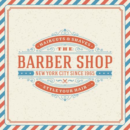 парикмахер: Парикмахерская старинные ретро вектор шаблон типографская дизайн