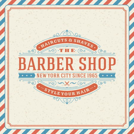 peluquero: Barber�a vendimia retro vector plantilla de dise�o tipogr�fico
