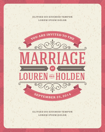 wedding gown: Wedding invitation card template vector vintage background  Retro flourish and calligraphic typographic design elements