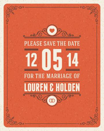 Wedding invitation card template vintage background  Retro flourish and calligraphic typographic design elements  Vector