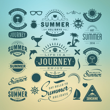 Summer design elements and typography design  Retro and vintage templates  Flourishes calligraphic ornaments, labels, badges, cards  Vector set  Vector
