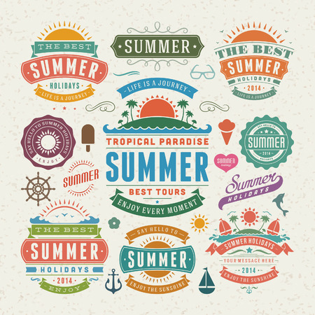 sun set: Summer design elements and typography design  Retro and vintage templates  Flourishes calligraphic ornaments, labels, badges, cards  Vector set