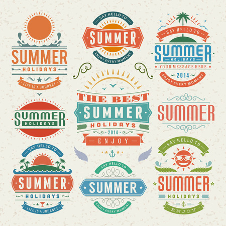 Summer design elements and typography design  Retro and vintage templates  Flourishes calligraphic ornaments, labels, badges, cards  Vector set Stock Vector - 26273536