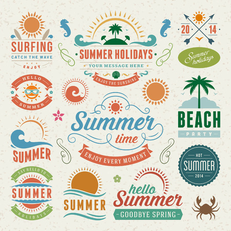 sommer: Sommer-Design-Elemente und Typografie Design Retro und Vintage-Vorlagen Flourishes kalligraphische Ornamente, Etiketten, Abzeichen Illustration
