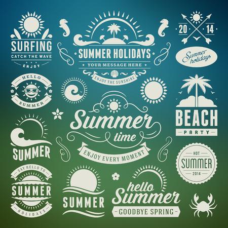 夏季设计元素和排版设计复古和复古模板蓬勃发展书法饰品,标签,徽章