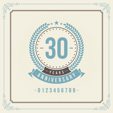 Vintage anniversary message emblem  Retro vector background   Illustration