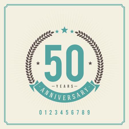 Un message Emblème de cru d'anniversaire vecteur Rétro fond Banque d'images - 27334418
