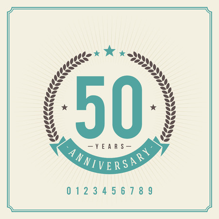 Vintage anniversary message emblem  Retro vector background   Çizim
