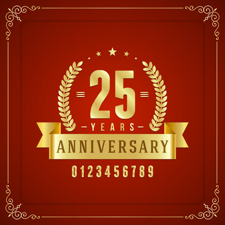 50 to 60: Golden vintage anniversary message emblem  Retro vector background   Illustration