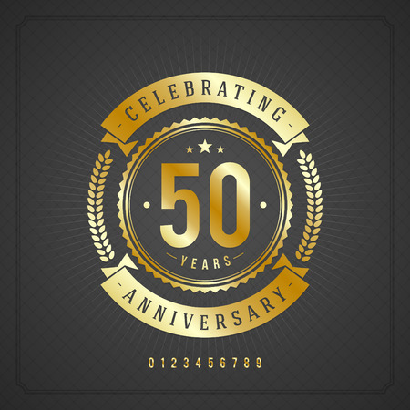 Golden vintage anniversary message emblem  Retro vector background   Ilustração