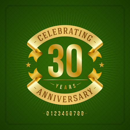 50 to 60 years: Golden vintage anniversary message emblem  Retro vector background   Illustration