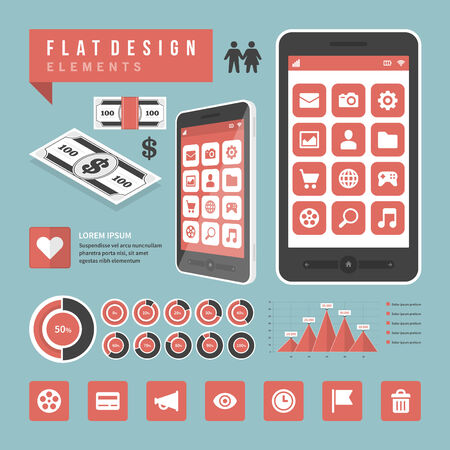 controls: Flat design vector illustration infographic design elements concept and icons  Business and social media design  Web site and mobile phone templates
