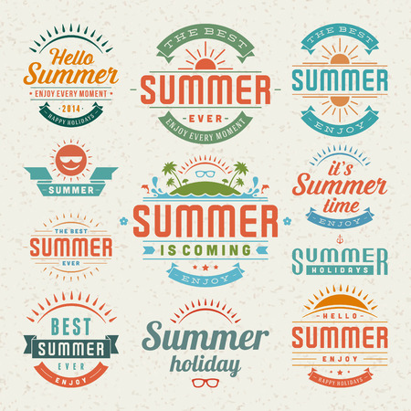 Summer holidays design elements and typography design  Retro and vintage templates  Flourishes calligraphic ornaments, labels, badges, cards  Vector set
