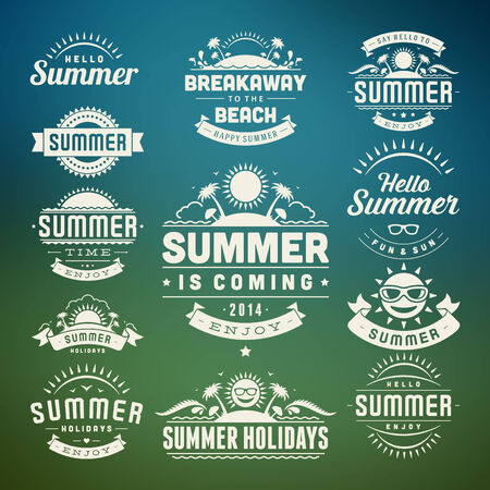 Summer holidays design elements and typography design  Retro and vintage templates  Flourishes calligraphic ornaments, labels, badges, cards  Vector set   Vector