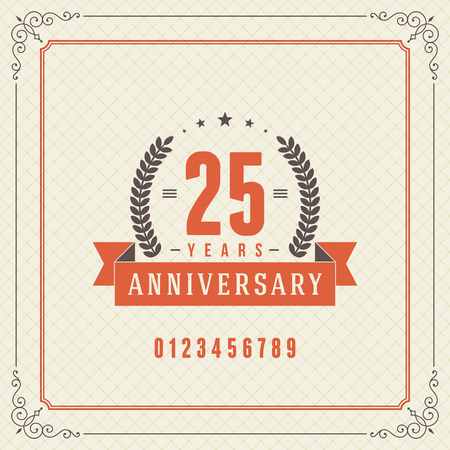 Vintage anniversary message emblem  Retro vector background  Vector