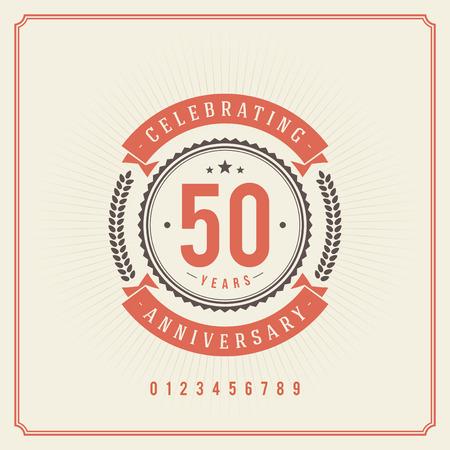 celebracion cumplea�os: Vintage aniversario mensaje emblema vector retro de fondo