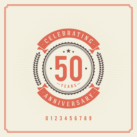 birthday cards: Vintage anniversary message emblem  Retro vector background