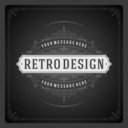 vintage retro frame: Retro typographic design elements  Template for design invitations, posters and other design  Flourish and calligraphic