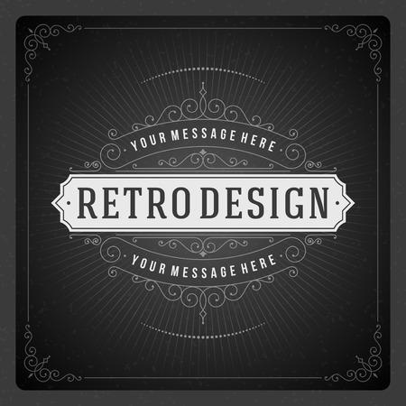 Tipográfico Retro Plantilla de elementos de diseño para las invitaciones de diseño, carteles y otros Flourish diseño y caligráfico Foto de archivo - 27348253
